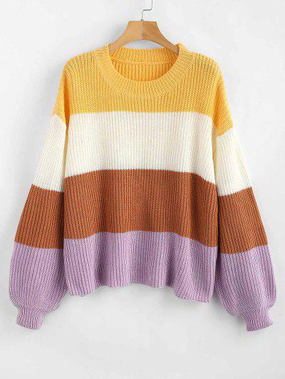 ZAFUL Lantern Sleeve Stripes Sweater - Multi