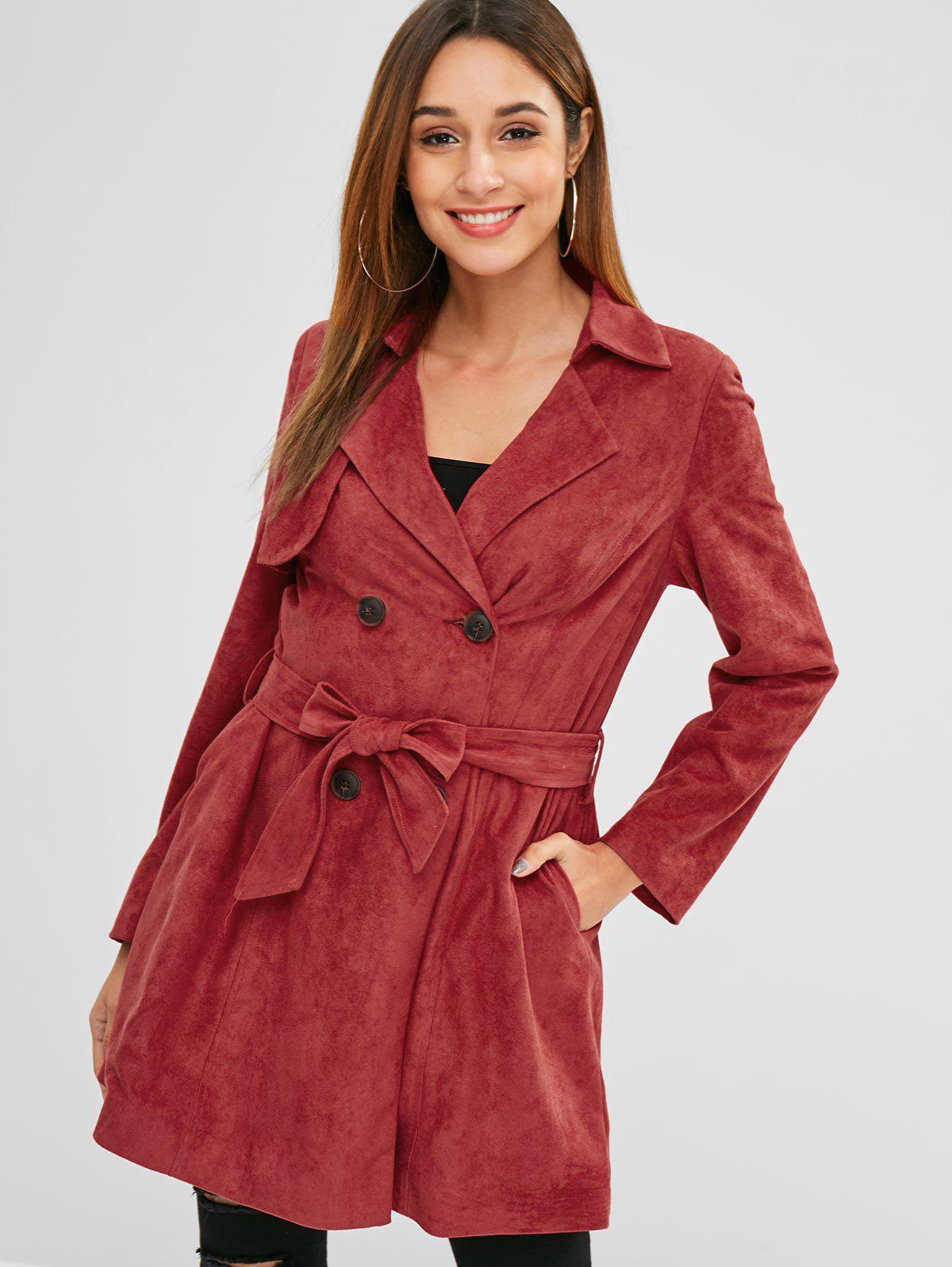 ZAFUL Double Breasted Faux Suede Trench Coat thumbnail