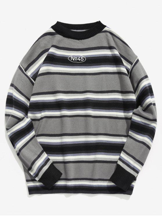 Camisola de malha de contraste com listra - Cinzento M