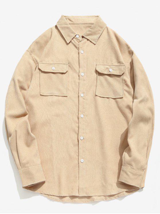Camisa de Veludo Sólido com Bolso Flap - Cor de Caqui M