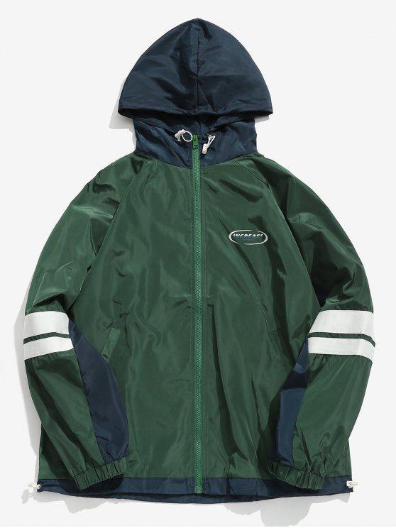 Jaqueta de blusão de bolso contraste - Verde XL