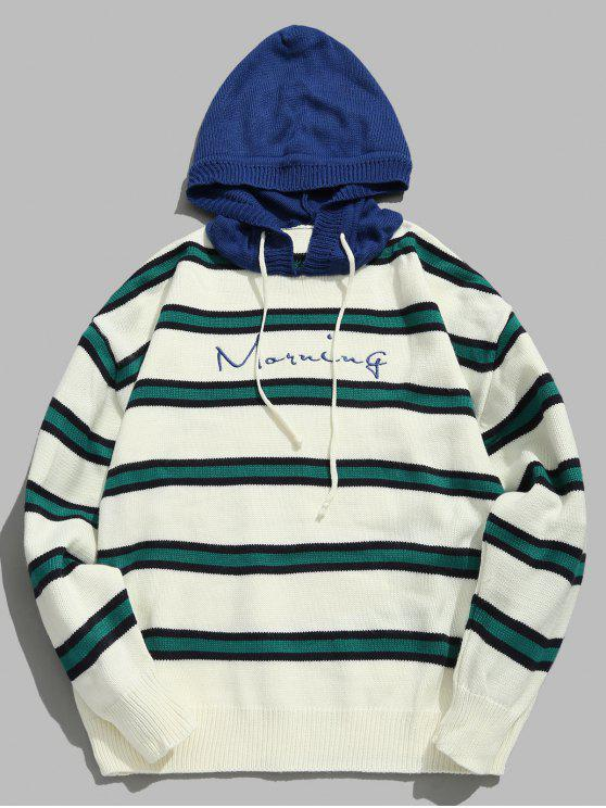 online Contrast Striped Embroidered Letter Hooded Knit Sweater - BLUE L