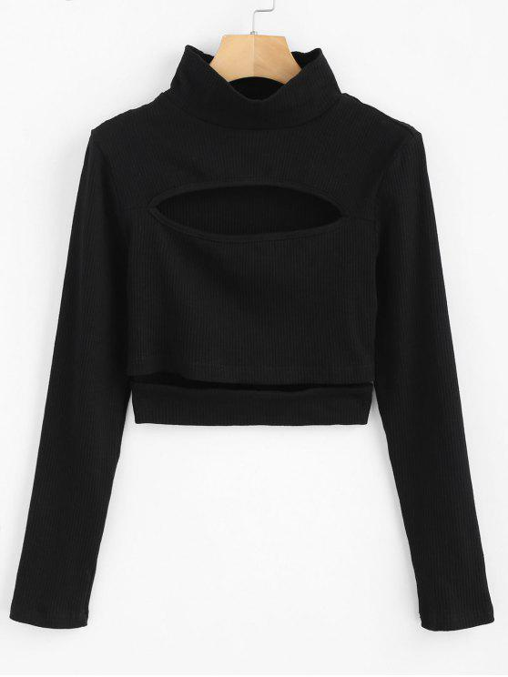 chic ZAFUL Cropped Ribbed Cut Out Top - BLACK L