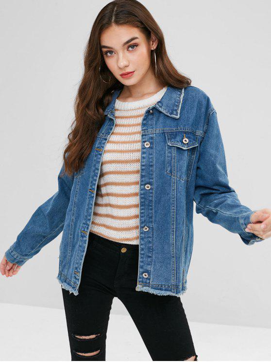shop Pocket Frayed Jean Jacket - DENIM BLUE S