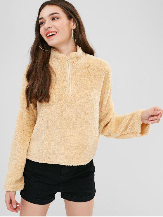 affordable Drop Shoulder Fleece Pullover Sweatshirt - BLANCHED ALMOND S