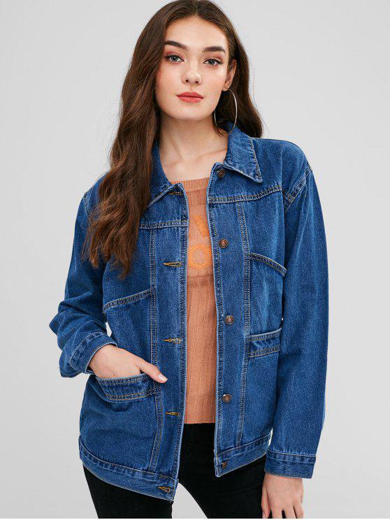 womens Pocket Button Up Longline Jean Jacket - DENIM DARK BLUE XL