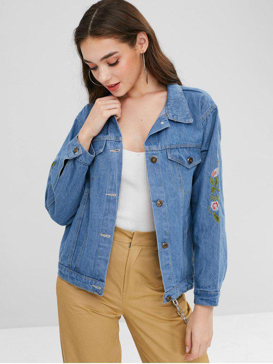 women Faded Floral Embroidered Denim Jacket - BLUE L