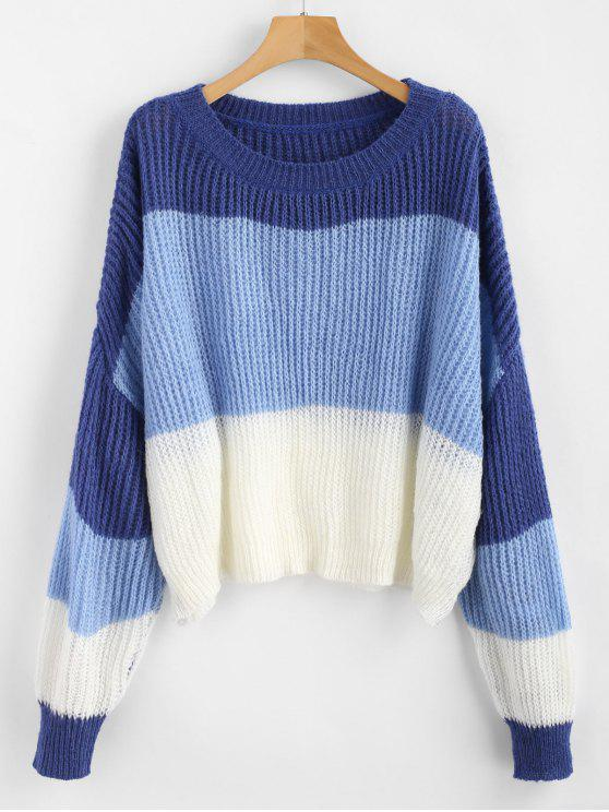 unique ZAFUL Oversized Stripes Sweater - MULTI ONE SIZE