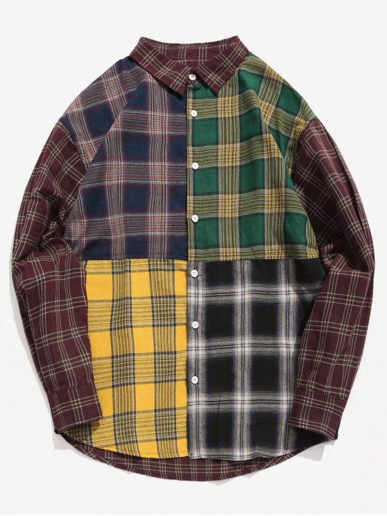 latest Contrast Plaid Patchwork Shirt - FIREBRICK XL
