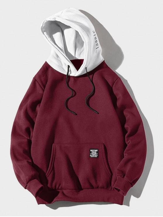 online Color-blocking Letter Patch Detail Pouch Pocket Fleece Hoodie - FIREBRICK XS
