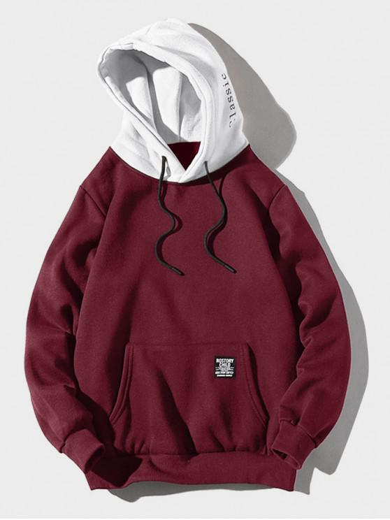 hot Color-blocking Letter Patch Detail Pouch Pocket Fleece Hoodie - FIREBRICK M