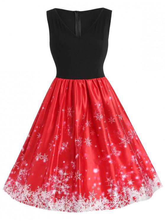 affordable Plus Size Vintage Snowflake Christmas Dress - RED L