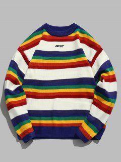 Rainbow Striped Letter Knit Sweater - White M