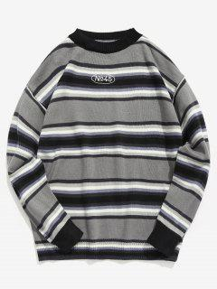 Contrast Stripe Knit Sweater - Gray M