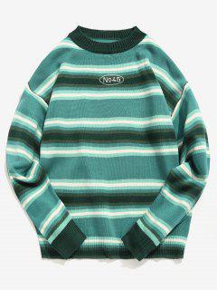 Contrast Stripe Knit Sweater - Green Xl
