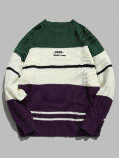 Color Block Letter Knit Sweater - Green M