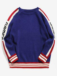 Side Letter Striped Knit Sweater - Blue Xl