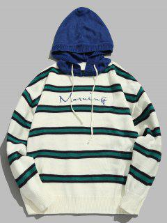 Contrast Striped Embroidered Letter Hooded Knit Sweater - Blue Xl