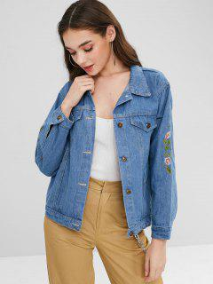 Faded Floral Embroidered Denim Jacket - Blue L