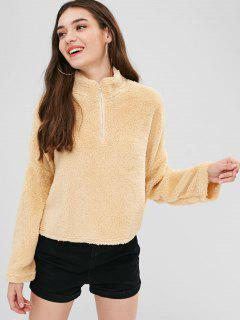 Drop Shoulder Fleece Pullover Sweatshirt - Blanched Almond M