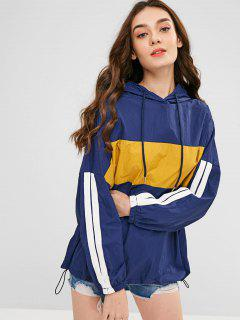 Oversized Color Block Graphic Windbreaker Hoodie - Deep Blue