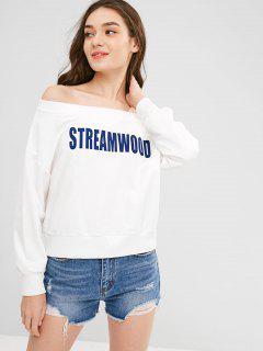 Sweat-shirt Lettre Imprimée à Epaule Dénudée - Blanc Xl