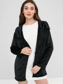 Open Front Fleece Light Coat - Black M