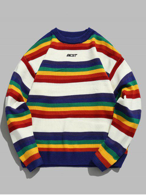 shops Rainbow Striped Letter Knit Sweater - WHITE XL Mobile