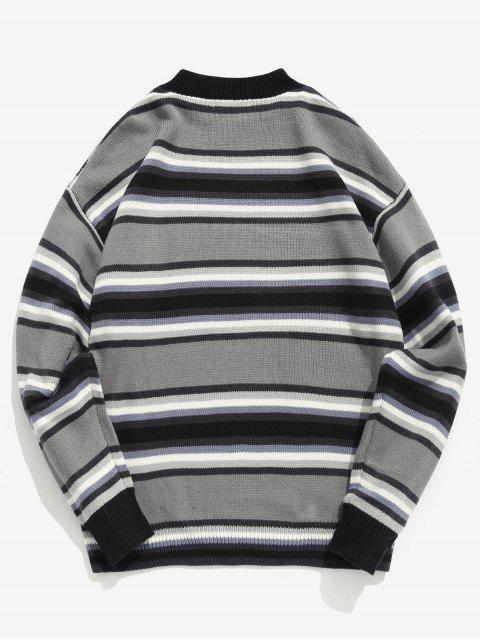women's Contrast Stripe Knit Sweater - GRAY XL Mobile