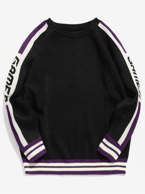 sale Side Letter Striped Knit Sweater - BLACK XL Mobile