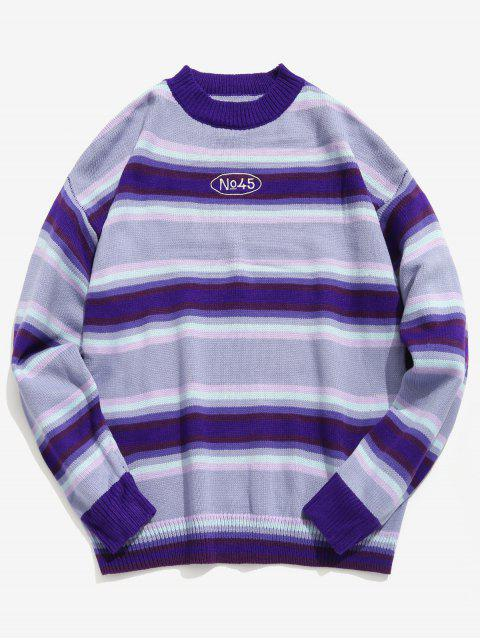 affordable Contrast Stripe Knit Sweater - MAUVE L Mobile