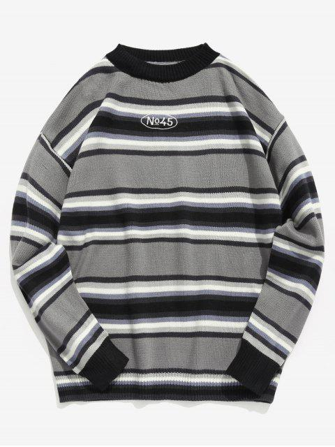 women's Contrast Stripe Knit Sweater - GRAY L Mobile