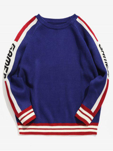 online Side Letter Striped Knit Sweater - BLUE M Mobile