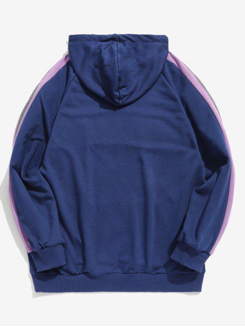 women Reflective Strip Letter Contrast Hoodie - OCEAN BLUE XL Mobile