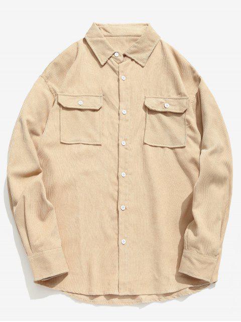 shop Solid Flap Pocket Corduroy Shirt - KHAKI L Mobile