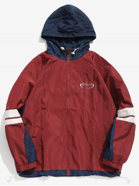 sale Contrast Pocket Windbreaker Jacket - RED XL Mobile