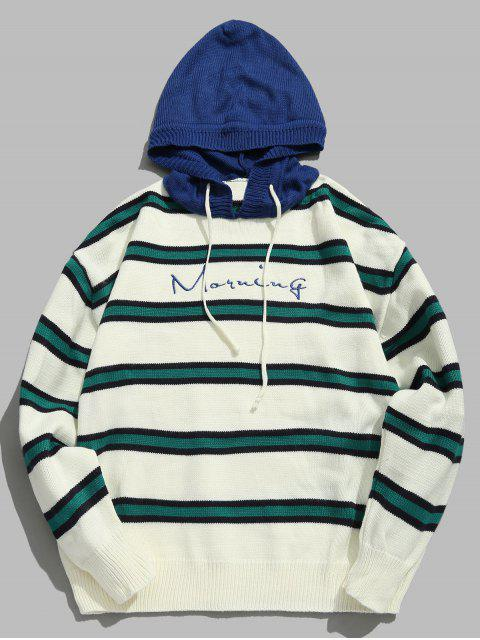 online Contrast Striped Embroidered Letter Hooded Knit Sweater - BLUE L Mobile