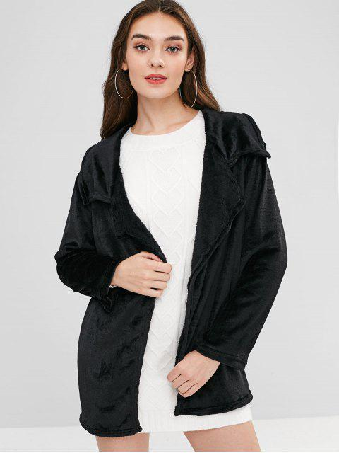 ladies Open Front Fleece Light Coat - BLACK XL Mobile