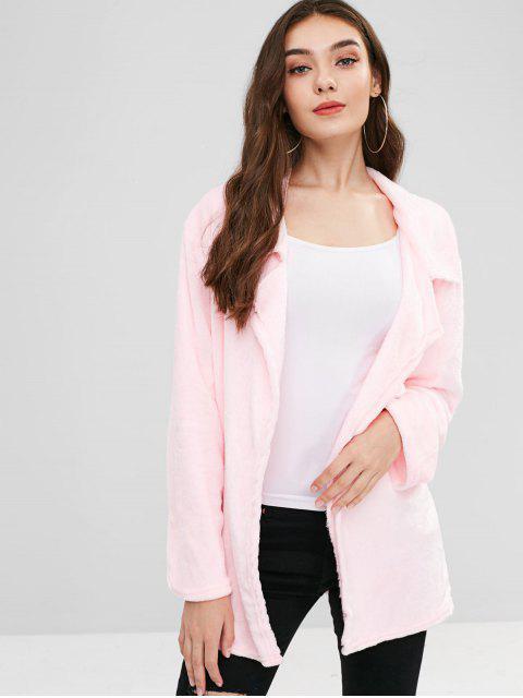 shop Open Front Fleece Light Coat - PINK L Mobile