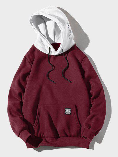 Color-blocking Letter Patch Detail Pouch Pocket Fleece Hoodie - Firebrick L