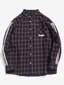 الجانب مخطط الصدر قميص منقوش جيب - طالبا الأزرق L