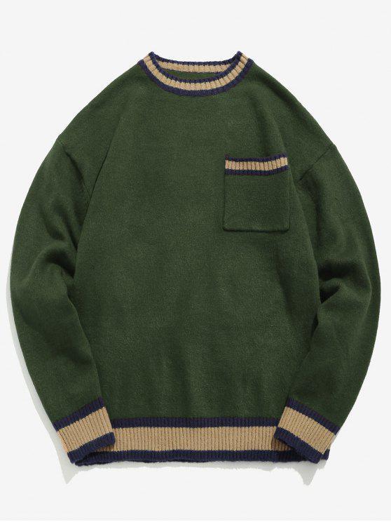 Camisola listrada do bordado da letra - Exército verde XL