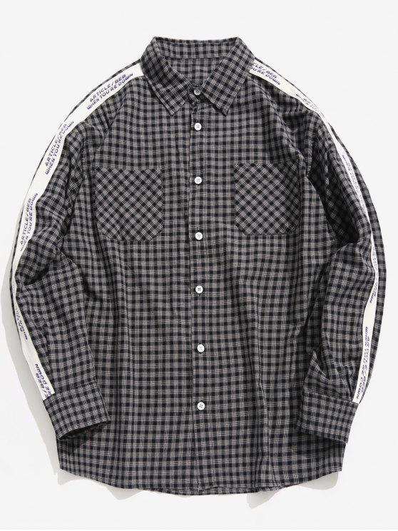 hot Side Letter Stripe Patchwork Plaid Shirt - BLACK XL