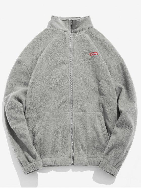affordable Embroidery Fleece Jacket - GRAY CLOUD L