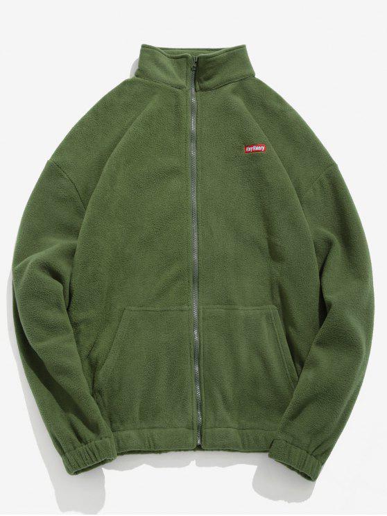 women's Embroidery Fleece Jacket - FERN GREEN XL