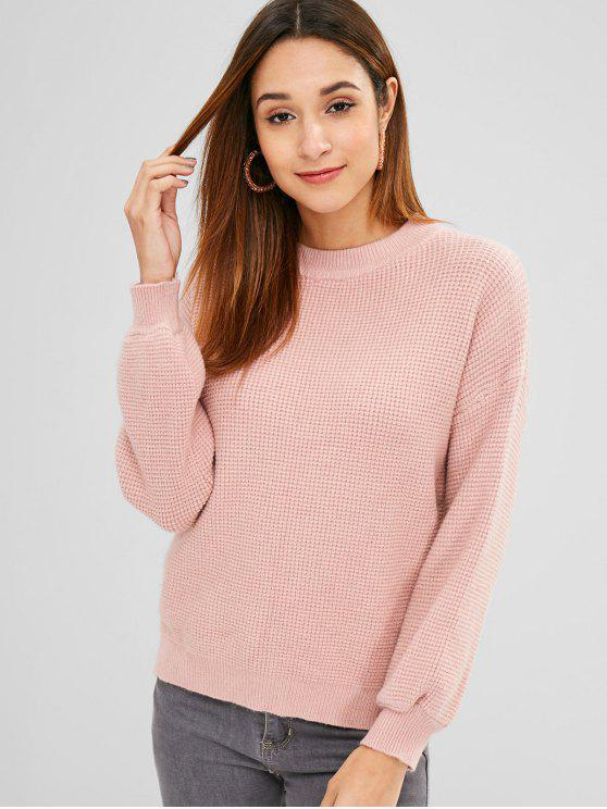 buy Side Slit Knit Drop Shoulder Sweater - PINK ONE SIZE