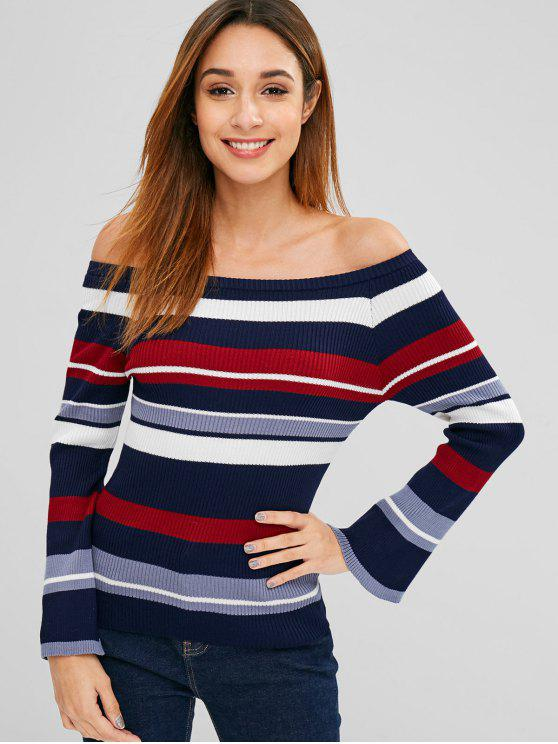 womens Flare Sleeve Stripes Off Shoulder Sweater - MULTI ONE SIZE