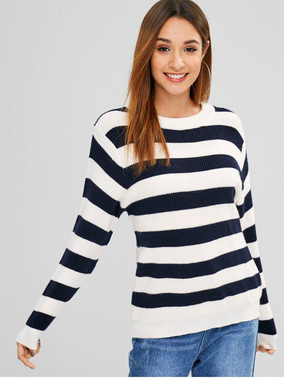 women Crew Neck Pullover Stripes Sweater - MULTI ONE SIZE