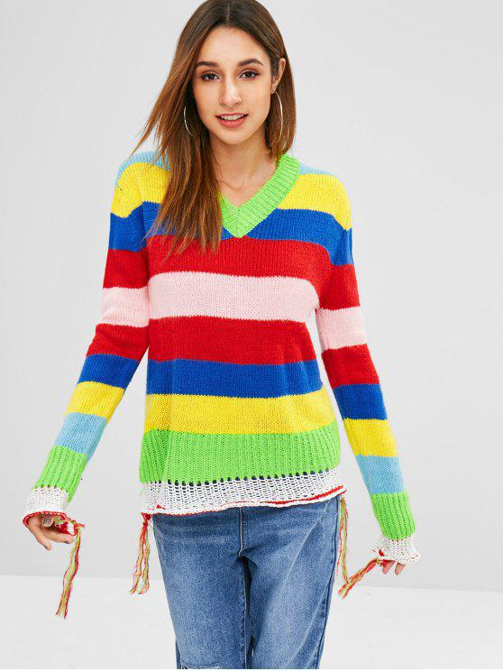 outfits V Neck Tassels Color Block Sweater - MULTI ONE SIZE