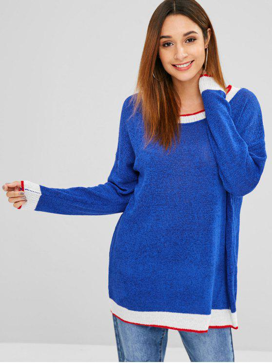 women Pullover Stripes Oversized Sweater - BLUE ONE SIZE